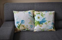 Poszewka dekoracyjna - błękitno-beżowe kwiaty
