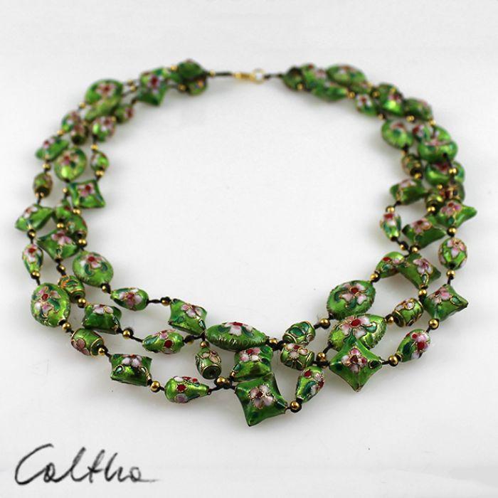 Cloisonne - zielony naszyjnik