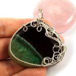 Srebrny wisior z agatem zielono czarnym - srebrny wisior wire wrapped z agatem