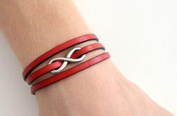 Infinity potrójna bransoletka czerwona 5mm