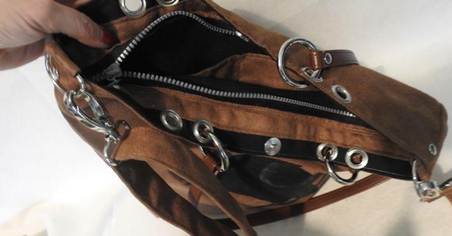 Duża torba  Kruk w rockowym stylu brązowa