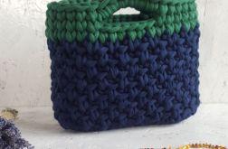 Mała zielono-granatowa torebka