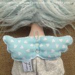 ANIOŁEK lalka - dekoracja tekstylna, OOAK /09 - mam miętowe skrzydełka