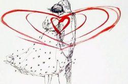 Praca akwarelą i piórkiem ''Jedność serc''