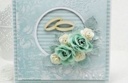 Kartka na ślub z obrączkami -w pudełku
