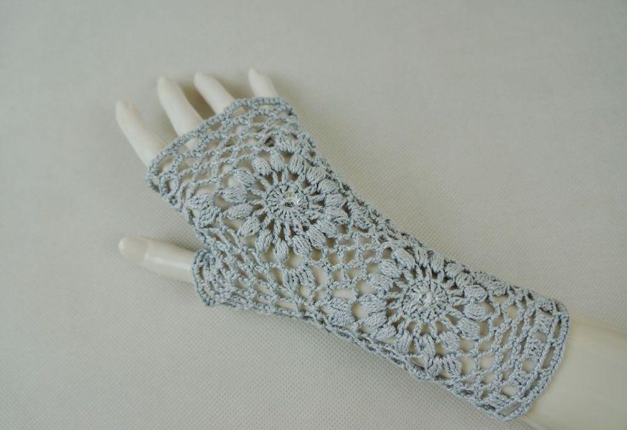 Mitenki popielate - koronkowe rękawiczki