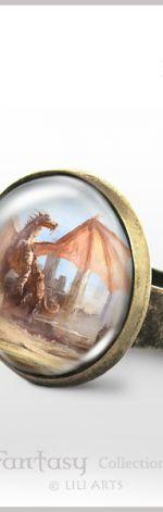 Pierścionek - Dragon - Smok - antyczny brąz