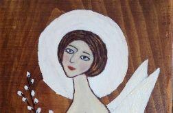 Anioł z baziami - akryl na desce