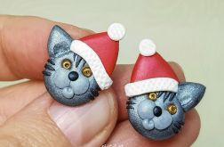 Kolczyki Świąteczne Koty Mikołaja