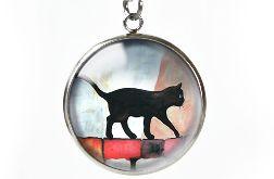Black cat naszyjnik z ilustracją