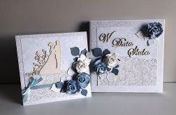 Kartka ślubna wraz z pudełkiem kwiaty nie-bie