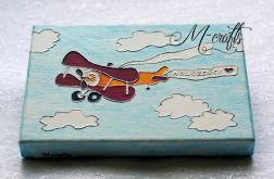 Samolotem... Kartka ślubna na płótnie