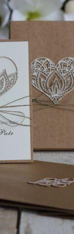Rustykalna kartka ślubna w pudełku 1