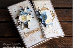 Kartka dla emeryta, kwiaty pudełko, braz