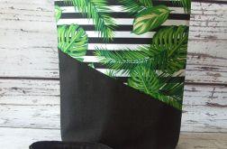 Duża zielona torebka wzór liści z czarnym