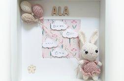 Metryczka narodzin dziecka - różowy króliczek