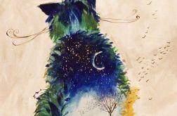 """""""KOT NOCNY"""" obraz akrylowy na płótnie 70x50cm"""