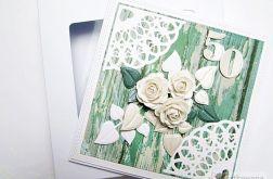 Kartka URODZINOWA z białymi różami