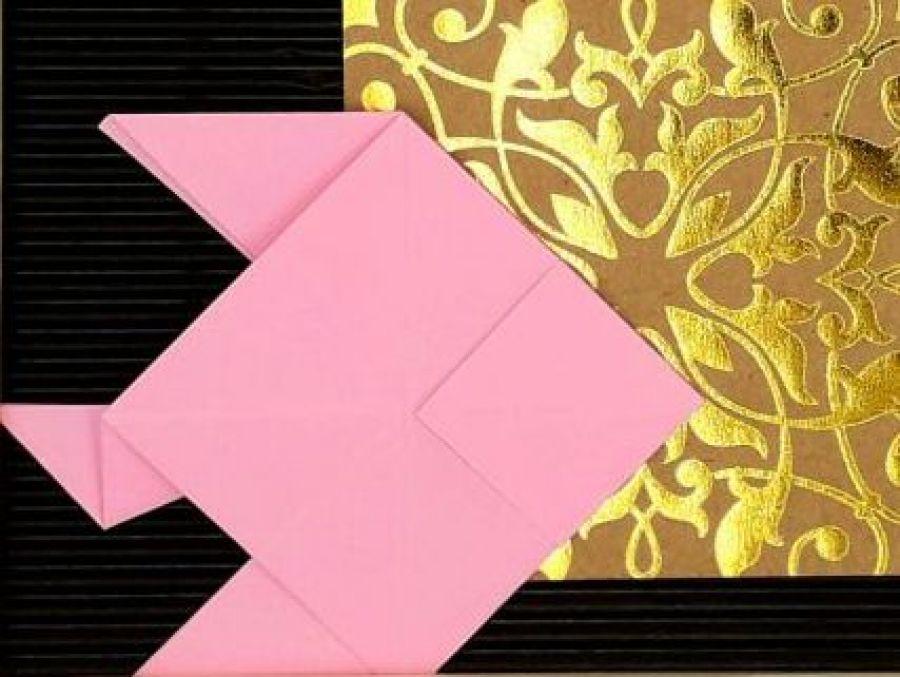 Obrazek origami wiszący drewniana ramka Ryby - Zbliżenie1
