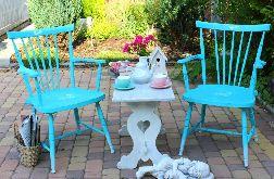 Turkusowe krzesło, oryginalny mebel
