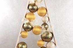 Złota, drewniana choinka hand made LED