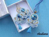 Błękitny komplet Sutasz z chwostem- zawieszka i kolczyki