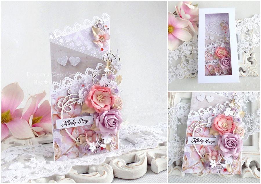 Ślubna kartka kaskadowa w pudełku 240