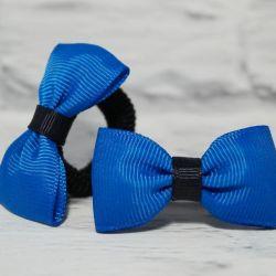 Niebiesko czarna kokardka do włosów. Zuzia.