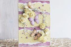 Kartka z różami i motylami