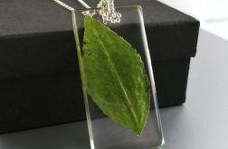 Srebrny wisiorek z żywicy z liściem Srebro
