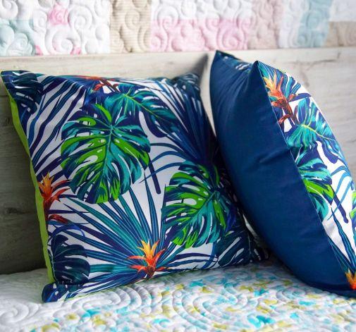 Poduszka w liście palmy monstery zamek 50cm