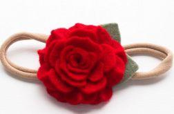 Opaska do włosów różyczka czerwona