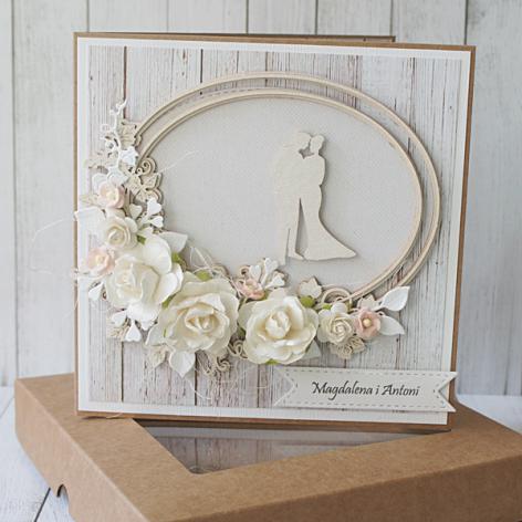 Kartka Ślubna rustykalna z dużym bukietem