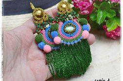Kolczyki sutasz Frida II boho Etno zielone