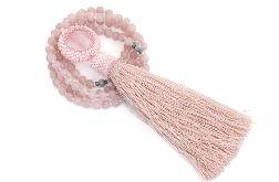 Długi naszyjnik Mala z chwostem różowy jadeit