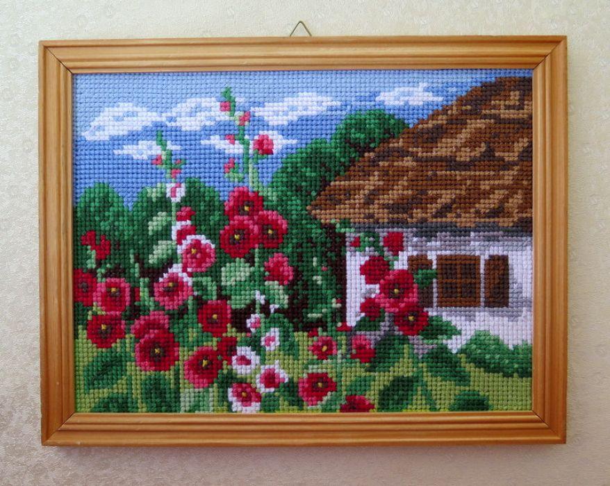 """Obraz haftem malowany """"Malwy przed chatą"""""""
