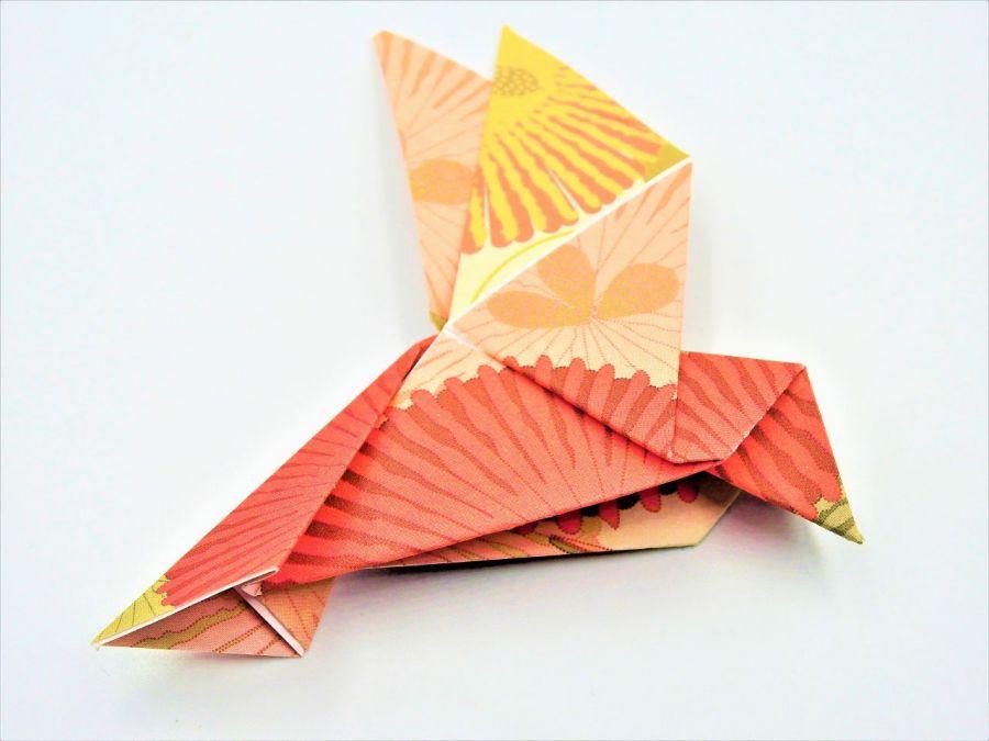 Magnes na lodówkę origami ptaszek rózowo-żółty - 2