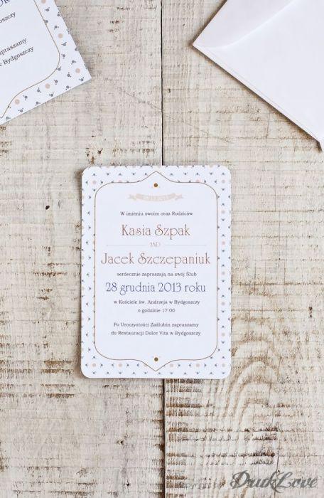 Zaproszenie ślubne Eleganckie 115x170mm B6 Druklove