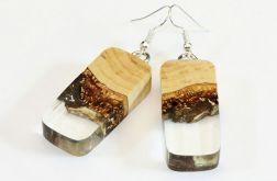 Kolczyki z żywicy i drewna bukowego transpare