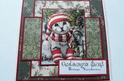 Kartka świąteczna z kotkiem #1