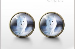 Biały lis - antyczny brąz - kolczyki wkrętki