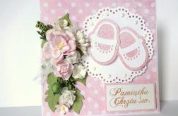 Kartka na chrzest z bucikami - różowa