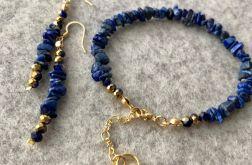 Komplet biżuterii. Lapis Lazuli. Bransoletka i kolczyki. Rękodzieło