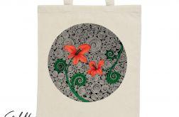 Czerwone kwiaty - torba z nadrukiem