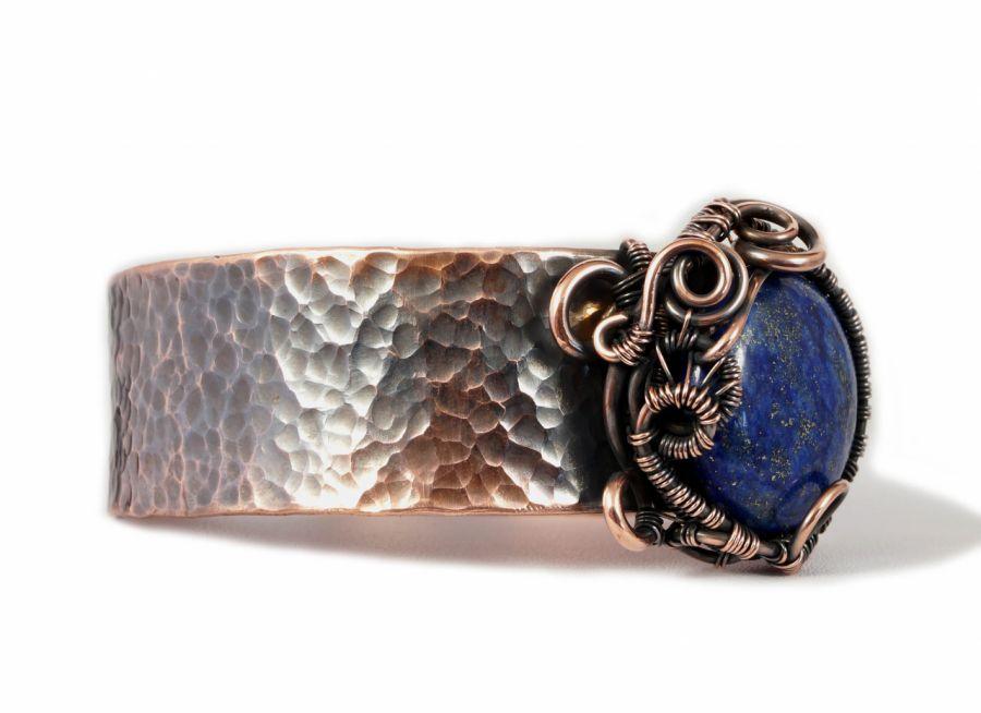 Lapis, Miedziana bransoletka z lapis lazuli  - miedziana bransoletka z lapis lazuli