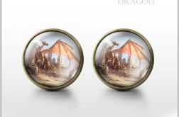 Dragon - Smok - antyczny brąz - kolczyki wkrętki