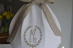 Abażur lniany biały z haftem duży