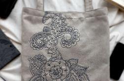 Duża ręcznie haftowana torba w szarościach