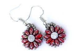 Kolczyki czerwono-srebrzysto-szare kwiatki