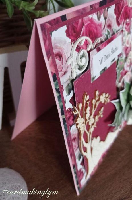 Kartka ślubna bordo z papierowymi kwiatami